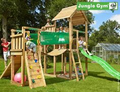 Jungle Gym Wooden Palace Playset / Climbing Frame with Bridge Xtra Module Wooden Climbing Frame, Climbing Rope, Climbing Frames, Palace, Outdoor Play Structures, Little King, Sand Pit, Jungle Gym, Backyard Playground