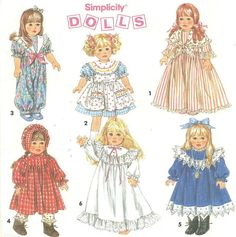 Simplicity 8211 Wardrobe for 18 Inch Dolls by PatternPeddler, $3.99