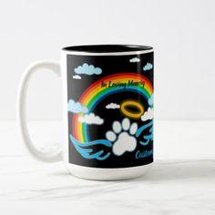 Shop Angel Paws Rainbow Memorial Two-Tone Coffee Mug created by thepawkinglot. Creature Comforts, Pet Memorials, Pet Shop, Photo Mugs, Colorful Backgrounds, Create Your Own, Coffee Mugs, Rainbow, Angel