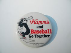 Vintage Hamms Beer Bear Baseball Pinback | eBay   Sold: $9.25/1.25