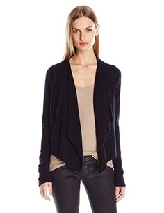 Vince Women's Sweater Rolled Edge Drape Front Cardigan, Black, X-Small *** You can find more details by visiting the image link.