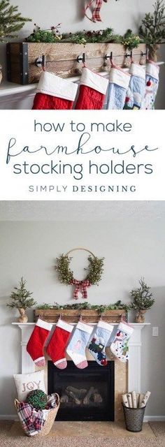 How to make Farmhouse Stocking Holders - simple Christmas Stocking Hangers - #sponsored #DIHworkshop