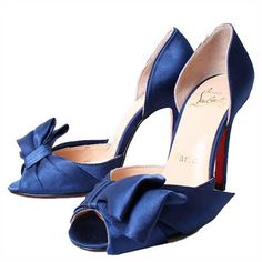 New Style Christian Louboutin Stiletto Heel Peep Toe Navy Blue Satin Sandals with Bow On Sale, Free Shipping