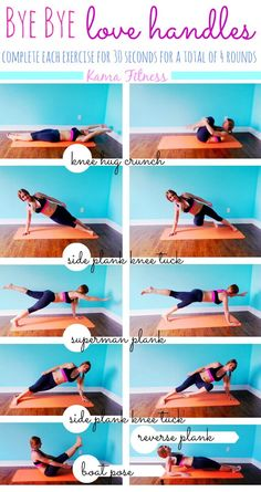 Bye Bye Love Handles Workout by Kama Fitness. Carry out each exercise for 30 seconds, and complete 4 rounds. Kama Fitness, Fitness Diet, Fitness Motivation, Health Fitness, Workout Fitness, Hiit, Bye Bye Love, Love Handle Workout, Exercises For Love Handles