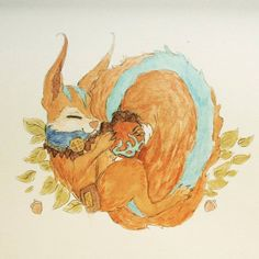 Ratatoskr Watercolour by Kisekii-i.deviantart.com on @DeviantArt