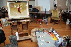Richard Schmid studio and palette