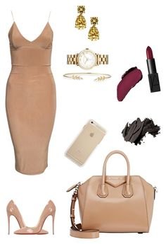 """""""Nude"""" by bahranita-benyameen on Polyvore featuring Christian Louboutin, Bobbi Brown Cosmetics, Givenchy, NARS Cosmetics, mizuki, Kate Spade and Marc by Marc Jacobs"""