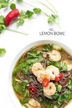 These fragrant Asian noodle bowls are made with soba, shrimp and bok choy in a fragrant ginger-infused broth. Healthy Gluten Free Recipes, Raw Food Recipes, Seafood Recipes, Asian Recipes, Vegetarian Recipes, Ethnic Recipes, Vegetarian Diets, Skinny Recipes, Rice Recipes
