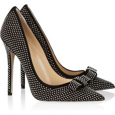 Jimmy Choo Maya studded suede pumps (£348) ❤ liked on Polyvore featuring shoes, pumps, heels, sapatos, jimmy choo, suede pumps, pointy-toe pumps, black pumps, black suede pumps and high heel shoes