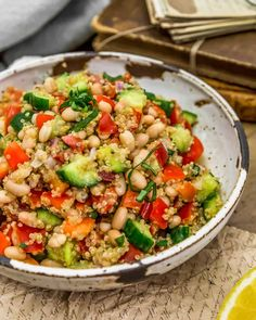 Healthy Salad Recipes, Whole Food Recipes, Vegan Recipes, Italian Diet, Summertime Salads, Vegan Party Food, Celery Rib, Lemon Basil, Tomato Vegetable