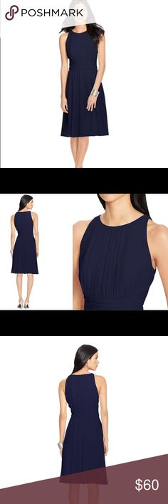 LAUREN EVENING by Ralph Lauren Ruched Dress NWT LOOK OUT MARILYN MONROE FANS there's a new navy dress is town. Stand over a subway grill and you're famous! Lauren Ralph Lauren's must-have dress is crafted from airy georgette and features a figure-flattering ruched design. Concealed zipper with a hook-and-eye closure at the center back Rounded neckline Sleeveless silhouette Ruching at the neckline, the waist and the skirt Clean-finished hem Fully lined Falls approximately 23 inches from the…