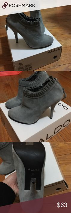 New with tag Aldo booties Gray nice suede heels says size 9 but fits like a 8, sister in law doesn't want them, never used them Aldo Shoes Ankle Boots & Booties