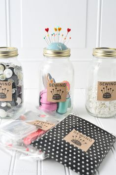 DIY Mason Jar Sewing Kit, with free printable -the polka dot chair