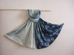 Pleated silk scarf, blue ombre wrap, shibori indigo blue, hand dyed with organic plants, natural botanical indigo, unique, designer wrap