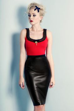 Our sexy leather pencil is a must have. A classic high-waisted cut with fine waist band, centre back zip and button detail closure. Soft luxurious leather front panel teamed with our classic ponti knit back. Vintage Inspired Fashion, Wallets For Women Leather, Wiggle Dress, Australian Fashion, Black Ruffle, Tank Dress, Leather Skirt, Clothes For Women, Tank Tops