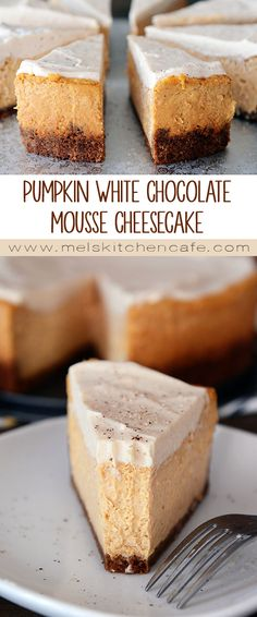 This egg-free Pumpkin White Chocolate Mousse Cheesecake is so luxurious and delicious.