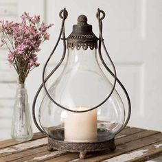 Glass and Metal Shabby Chic Candle Lantern