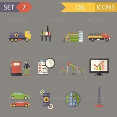 Retro Flat Oil Icons and Symbols Set by Meilun Retro Flat Oil Icons and Symbols Set Vector Illustration