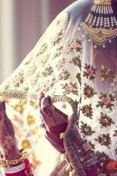 Light pink veil and jhoomer | Find more Indian wedding inspiration at www.wedmegood.com | #indianbride #wedmegood