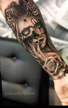 Best Arm Tattoos – Meanings, Ideas and Designs for This Year Part arm tattoo ideas; arm tattoo for girls; arm tattoos for girls; arm tattoos for women; Skull Girl Tattoo, Girl Arm Tattoos, Arm Tattoos For Women, Body Art Tattoos, Tattoos For Guys, Skull Tattoo Design, Sugar Skull Tattoos, Tattoo Girls, Tattoos Bein