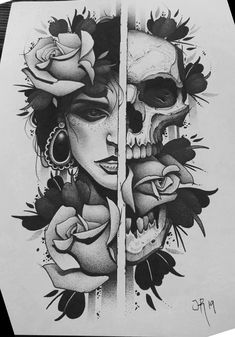 I genuinely adore the tints, outlines, and fine detail. This is really a wonderful artwork if you are looking for a Dark Art Drawings, Pencil Art Drawings, Art Drawings Sketches, Tattoo Drawings, Cool Drawings, Skull Tattoo Design, Skull Tattoos, Body Art Tattoos, Sleeve Tattoos