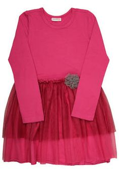 Girls dress with skirt in mesh layers, finished with a mesh flower and Naartjie Kids SA label. Perfect for a dress-up occasion!
