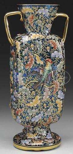 Moser Glass; Vase, Handled, Blown, Oak Leaves & Acorns, Bird & Insect, Blue, 13 inch. C. 1875-1924.