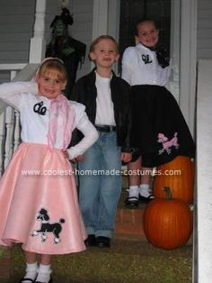 Homemade 50's Sock Hop Costumes: I have three children, ages 6-8, so I am always looking for inexpensive costume ideas.  This year, we decided a theme that enabled us to build on things