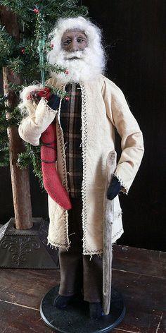 Primitive Christmas Santa OOAK Folk Art Handsculpted Santa