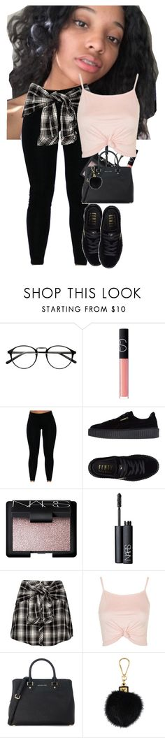 """she said ""baby i am not afraid to die"""" by aestheticallytroye ❤ liked on Polyvore featuring NARS Cosmetics, GET LOST, Puma, Topshop, Michael Kors and Louis Vuitton"