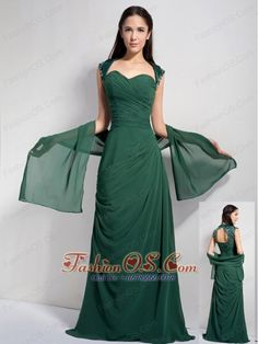 Elegant Dark Green Column Sweetheart Bridesmaid Dress Chiffon Ruch Brush Train- $128.78  http://www.fashionos.com  http://www.youtube.com/user/fashionoscom?feature=mhee   Pure simplicity can be a charming virtue, and it's one exemplified in this beautiful dress! The simple, sincere cut frames your figure while the white lines adorns on the bustline,waist and the skirt making the dress layered and dimension. The shank-length skirt has a A-line shape to creat a princess silhouette.