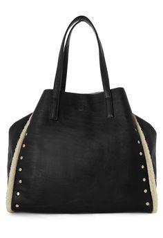 Black Reversible Faux Fur Shopper bag with Studs detail