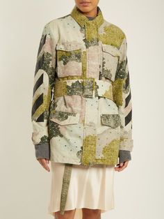 Off-White Floral-print point-collar belted cotton jacket