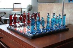 Red and blue glass chess set.