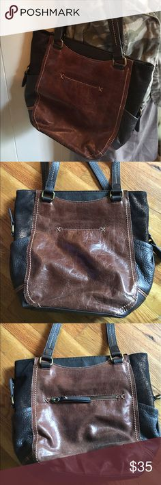 Large leather tote Larger leather zipper top tote from the Sak in brown and black leather with glittery suede inserts. The Sak Bags Totes