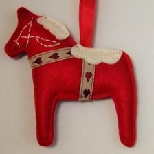 Scandinavian Felt Dala Horse Christmas Decoration Swedish | Etsy Swedish Symbols, Hygge Christmas, Scandinavian Folk Art, Swedish Style, Red Felt, Red Satin, Hanging Ornaments, Red And Pink, Christmas Decorations