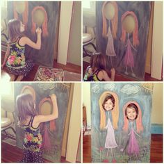 Head in the hole chalkboard art