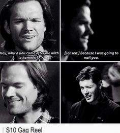 """Season 10 episode 3 """"Soul Survivor"""" demon dean Deanmon chases Sam with a hammer, gag real blooper nail you Wincest wink Jared and Jensen quote"""