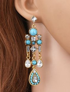 Water Drop Fake Crystal Tassel Earrings #shoes, #jewelry, #women, #men, #hats