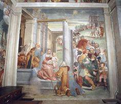 Giovan Battista Guarinoni - Adorazione dei Magi - affresco - 1577 circa - Cappella centrale - Chiesa San Michele al Pozzo bianco - Bergamo (Italia)