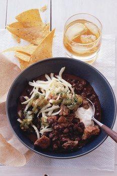 Black Bean Chili with Crispy Pork and Poblano Salsa / Lisa Hubbard