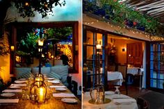 The Little Door, Los Angeles, CA. The Little Door may as well be called The Secret Garden. Its intimate patio, accessed through rustic wooden doors, is filled with bougainvilleas and has a tiled fountain and koi pond.