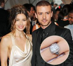 Jessica Biel diamond engagement ring by Leor Yerushalmi from Justin Timberlake #JessicaBiel #LeorYerushalmi #JustinTimberlake