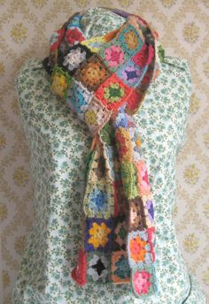 Granny Square crochet scarf by Ericka Eckles. Links for pattern at the end of the post.