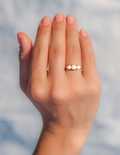 14k rose gold pearl ring! This gemstone engagement ring is made with three freshwater pearls.  14k gold pearl ring is a special piece of