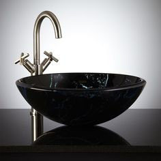 Dappled Black Glass Vessel Sink