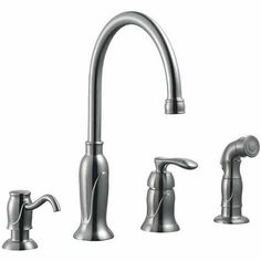Design House 525808 Madison Kitchen Faucet with Sprayer and Soap Dispenser, Satin Nickel Finish, Silver