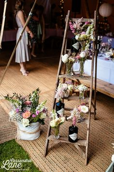 Vintage Ladder styled with Hendrick's Gin bottles & flowers