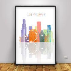 Los Angeles Digital Print, City Skyline Poster, California Wall art, Art City…