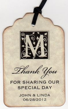 Set Of 50 Thank You Gift Tags / Wedding Favor / par luvs2create2, $31,25